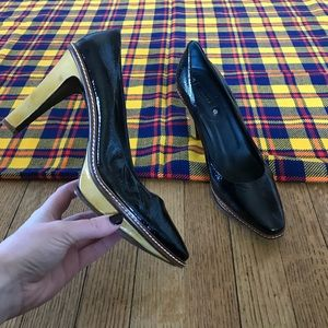 Celine Yellow Brown Black High Heels Stitching